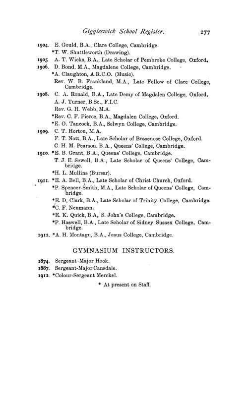 The Giggleswick School Register, 1499 to 1913 page 277 - click to open larger version in a new window