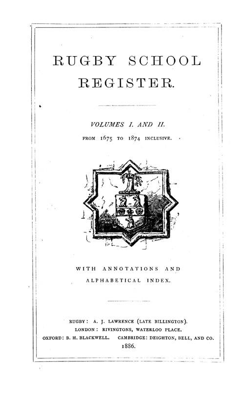 Rugby School Register 1675-1849 page i - click to open larger version in a new window