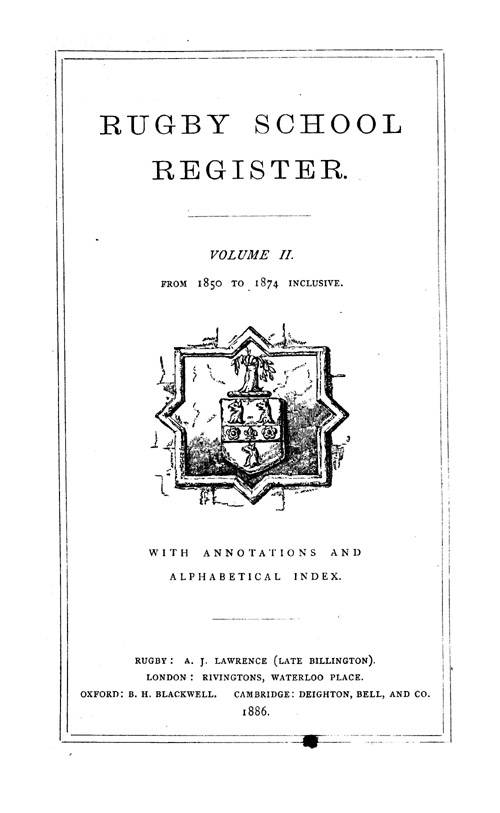 Rugby School Register 1850-1874 page i - click to open larger version in a new window