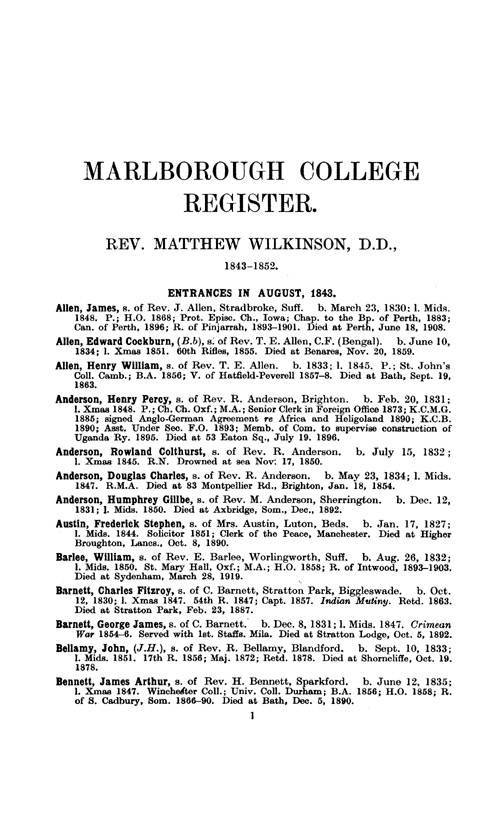 Marlborough College Register, 1843-1933 page 1 - click to open larger version in a new window