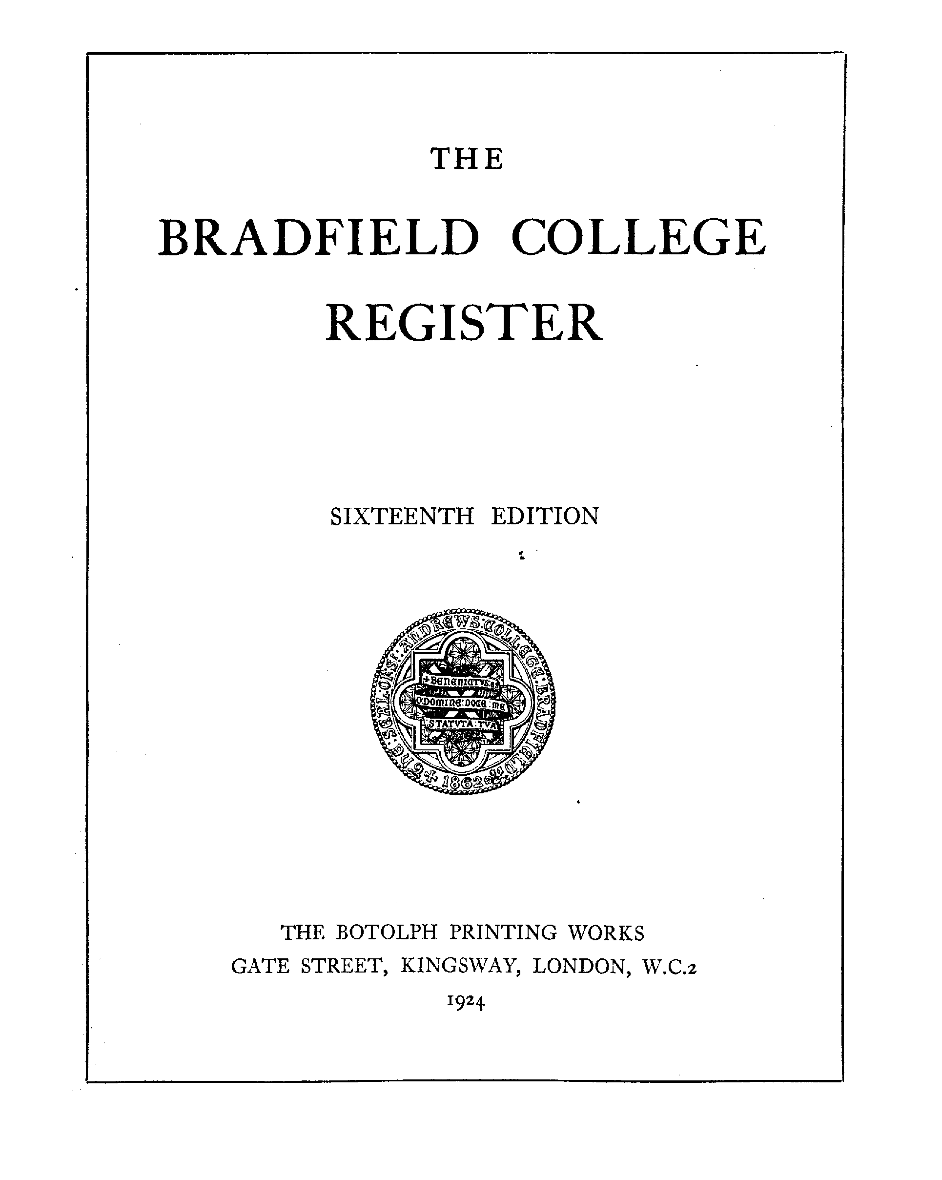 Bradfield College Register, 1850-1923 page 1 - click to open larger version in a new window
