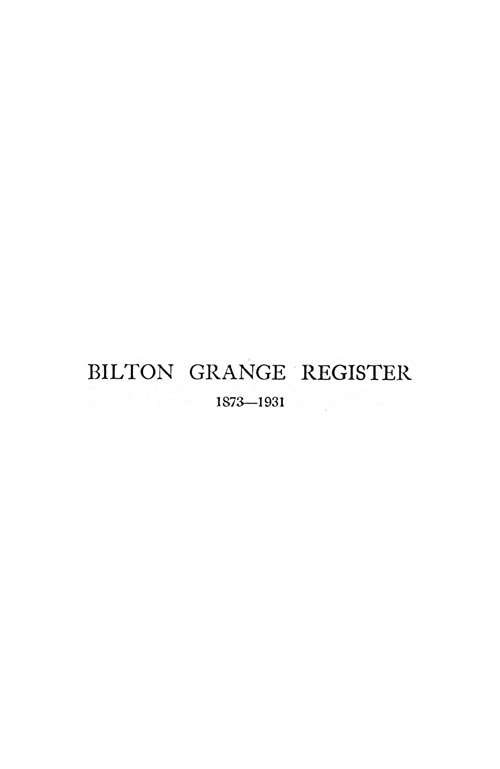 Bilton Grange Register, 1873-1931 page 1 - click to open larger version in a new window