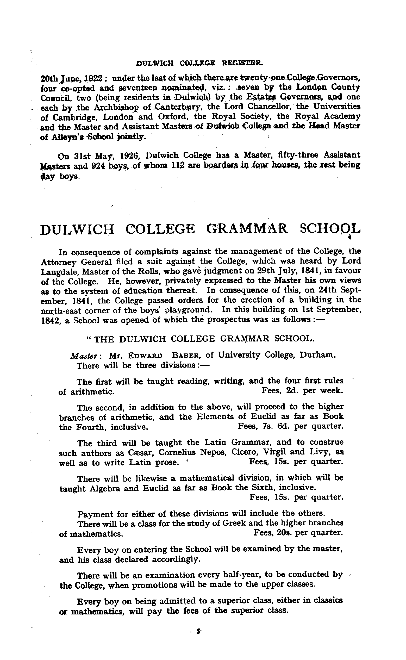 Dulwich College Register, 1619 - 1926 page 5 - click to open larger version in a new window