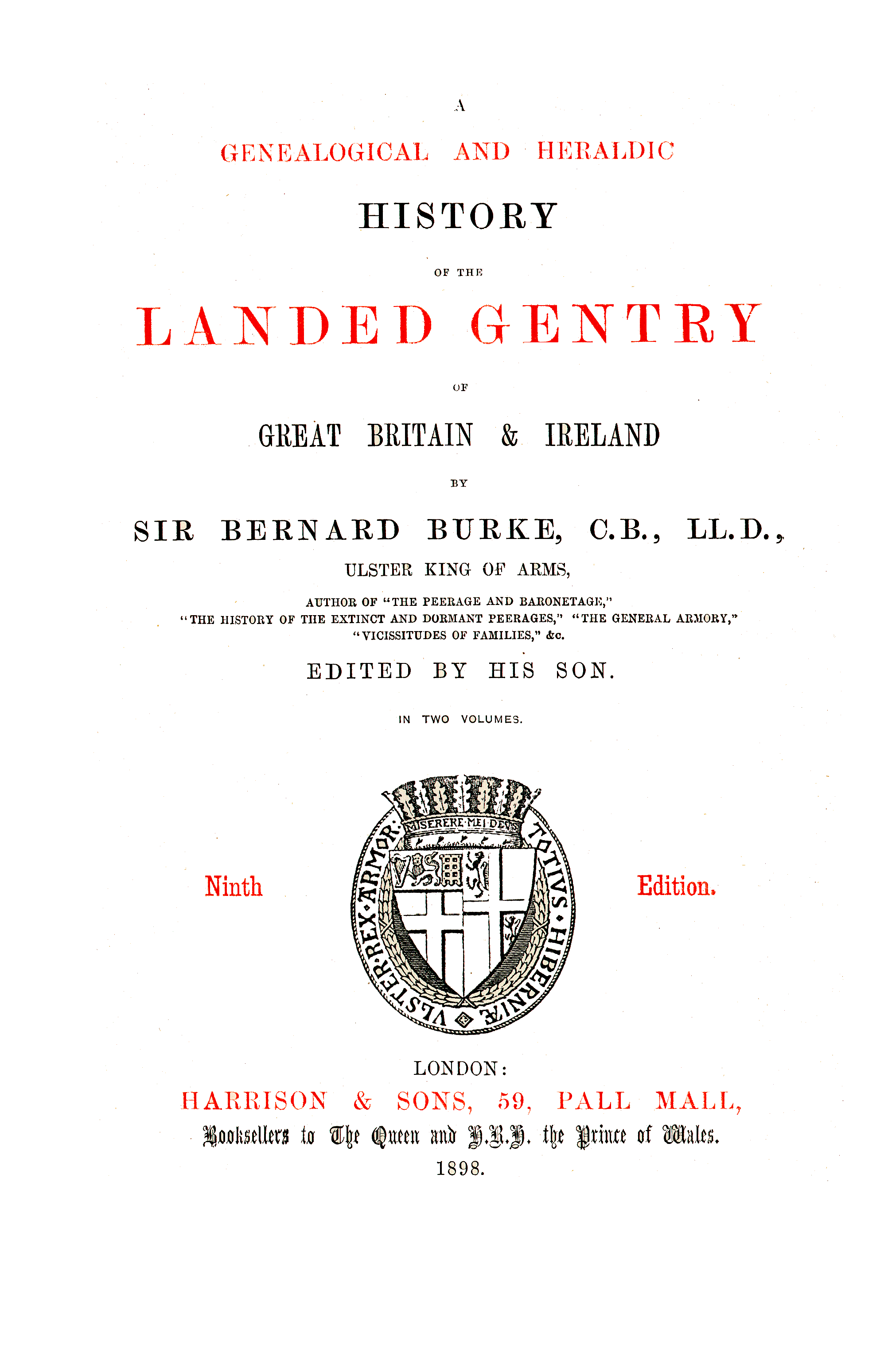 Burke's Landed Gentry, 1898 page iii - click to open larger version in a new window