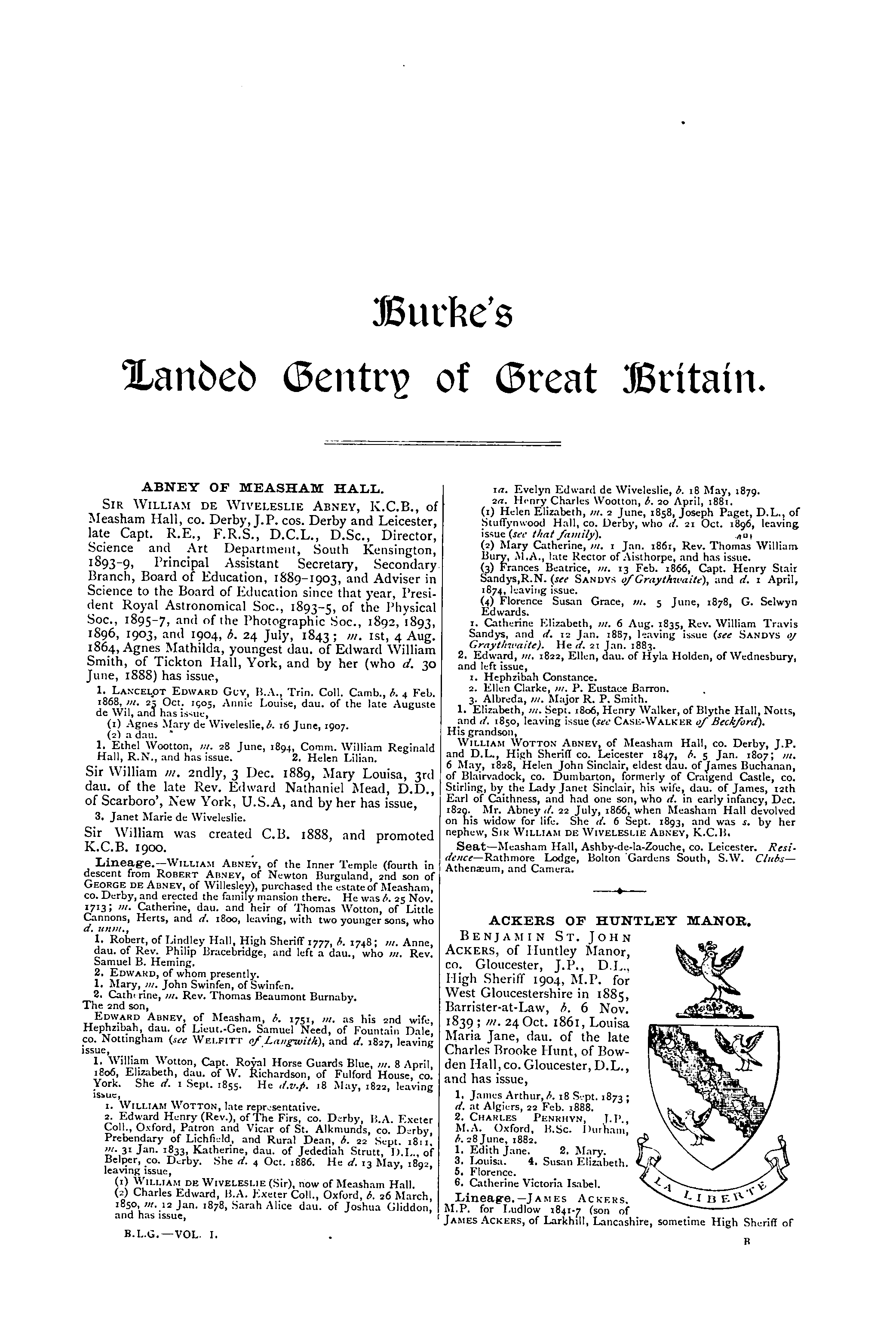 Burke's Landed Gentry, 1914 page 1 - click to open larger version in a new window