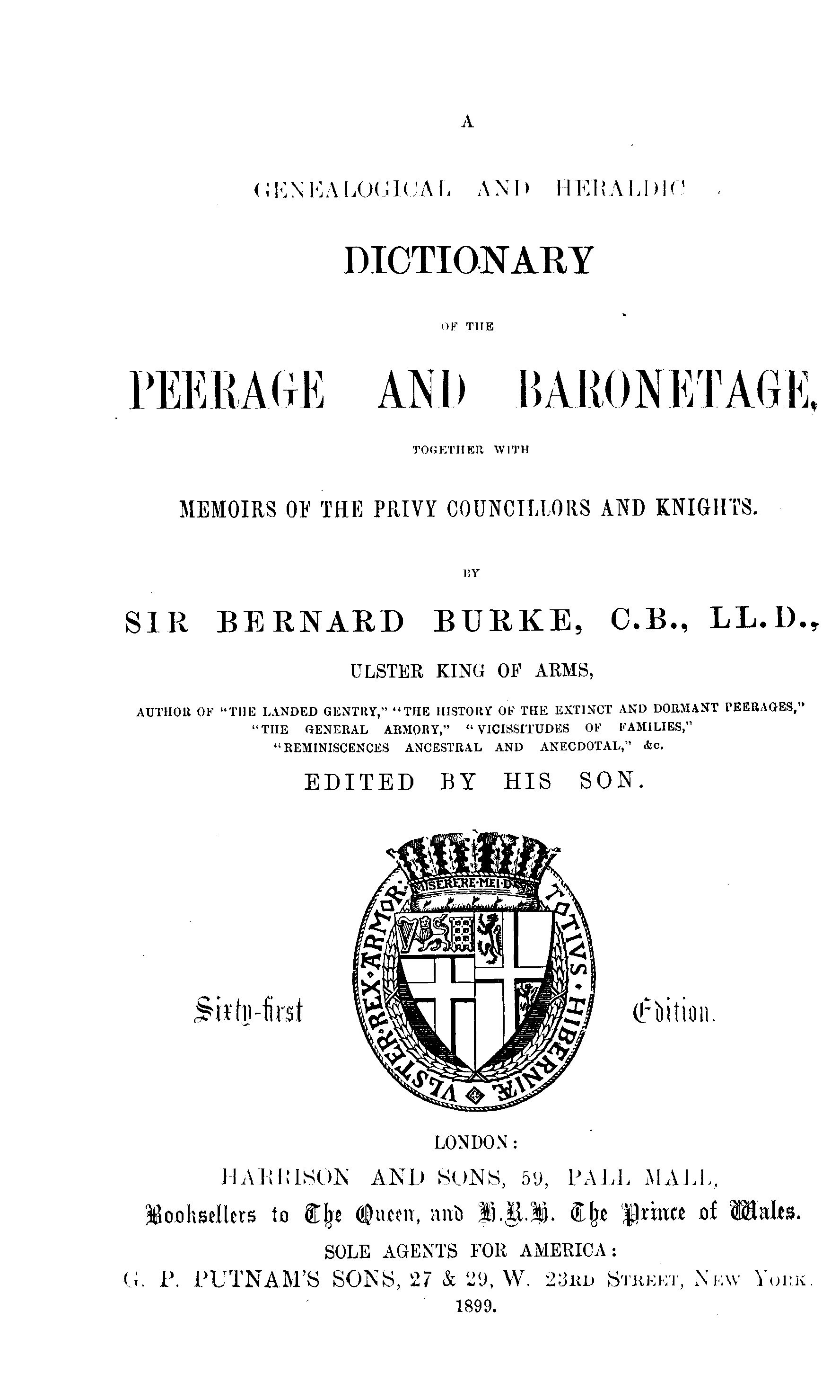 Burke's Peerage, Baronetage, and Knightage 1899 page title - click to open larger version in a new window