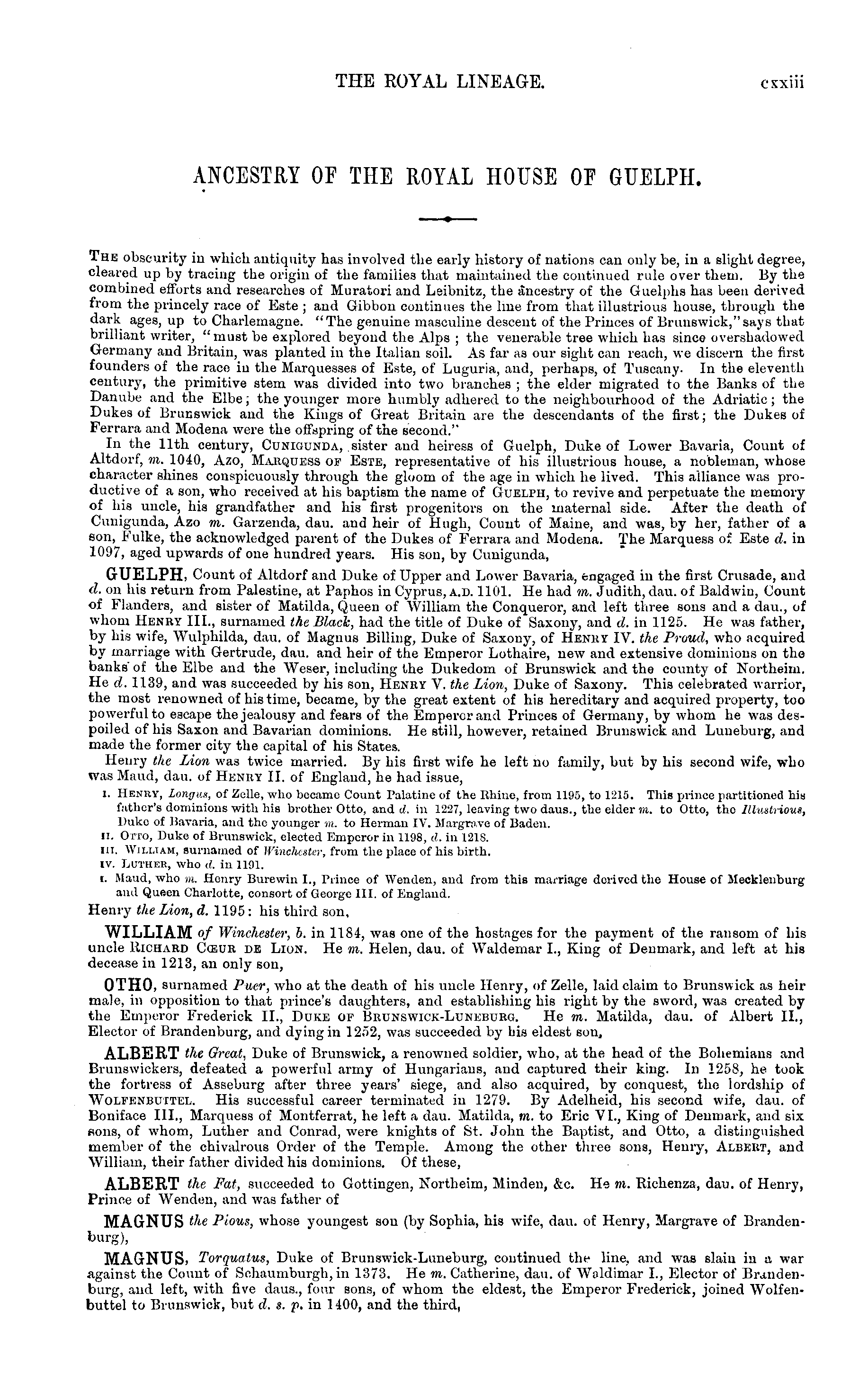 Burke's Peerage, Baronetage, and Knightage 1899 page cxxiii - click to open larger version in a new window