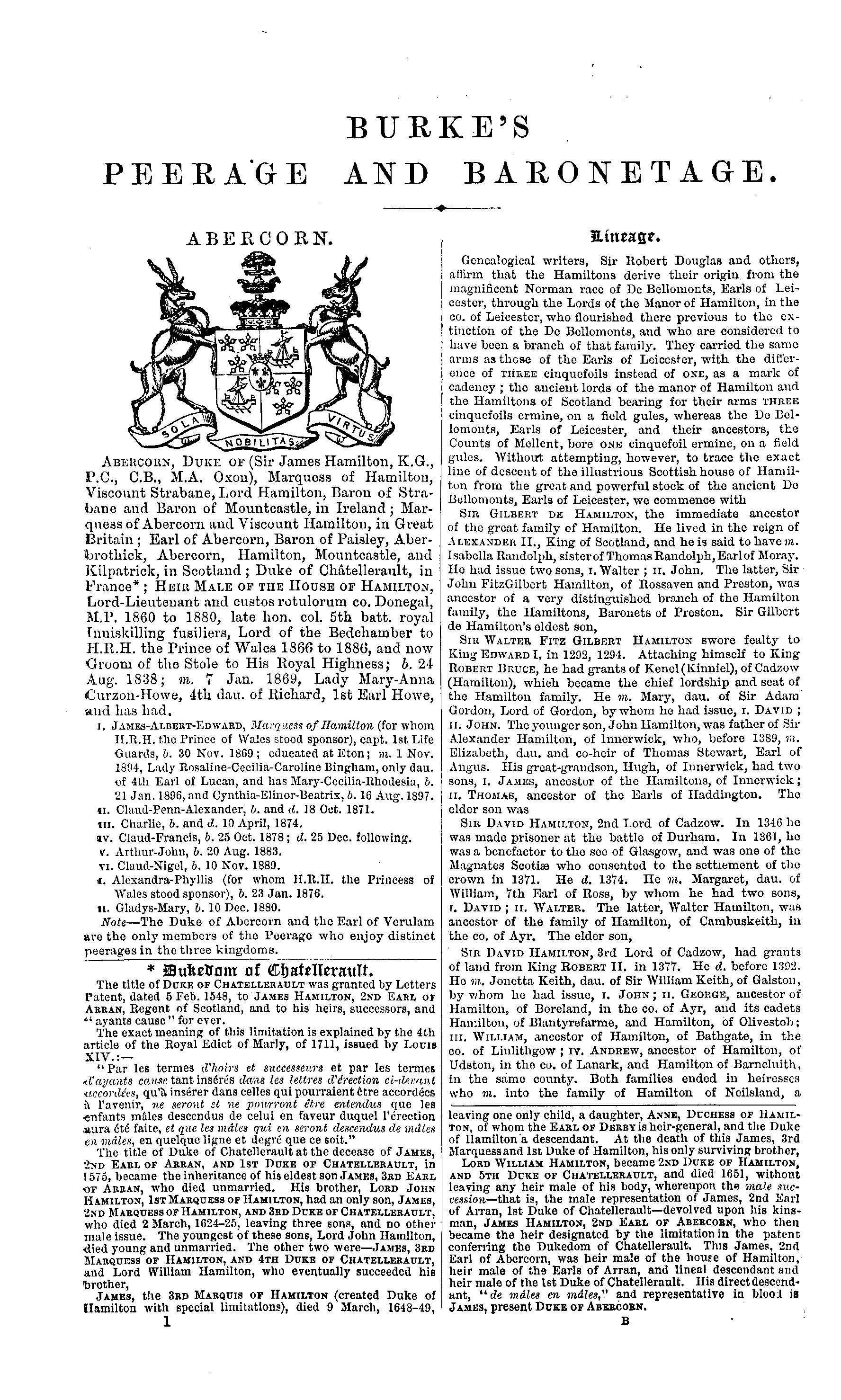 Burke's Peerage, Baronetage, and Knightage 1899 page 1 - click to open larger version in a new window