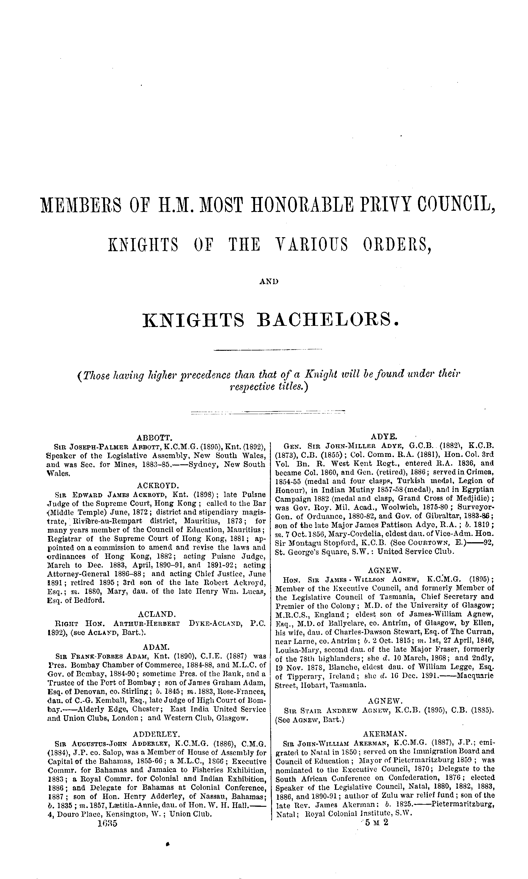 Burke's Peerage, Baronetage, and Knightage 1899 page 1635 - click to open larger version in a new window