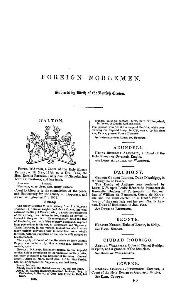 Burke's Peerage & Baronetage 1849 page 1089 - click to open larger version in a new window