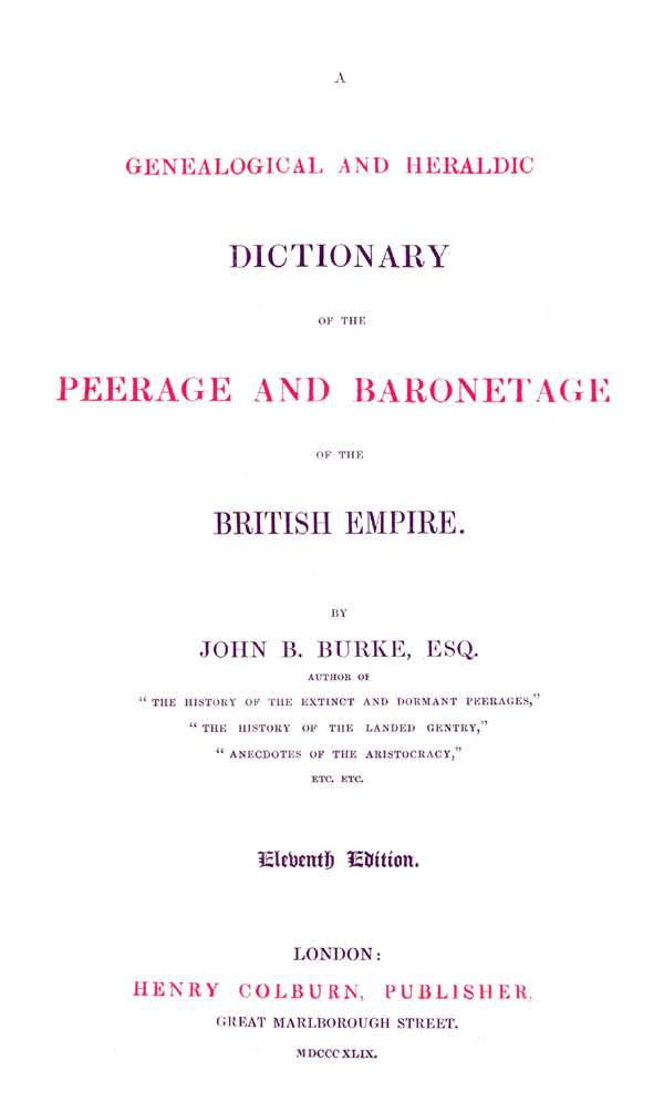 Burke's Peerage & Baronetage 1849 page iii - click to open larger version in a new window