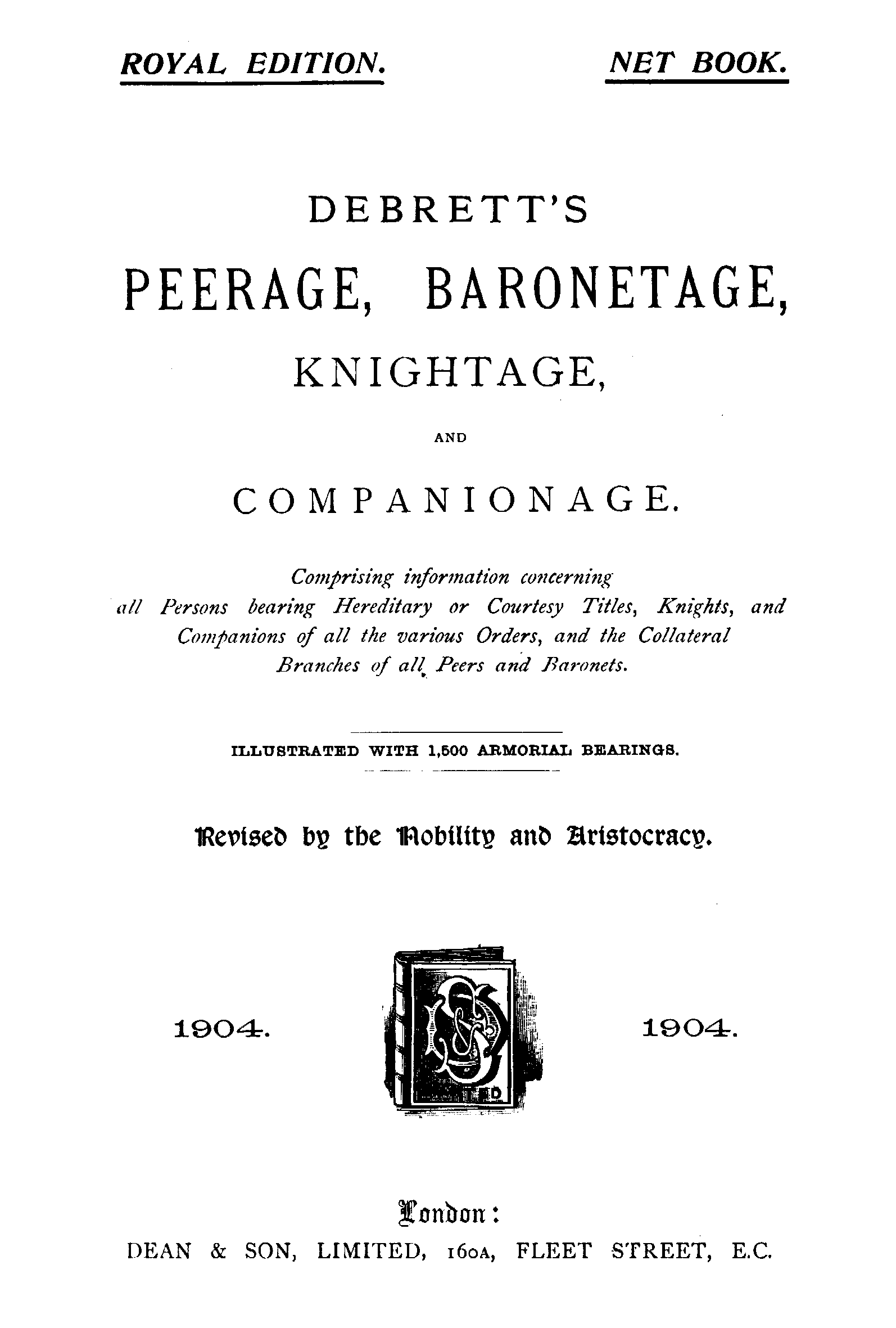 Debrett's Peerage, Baronetage, Knightage and Companionage, 1904 page Title - click to open larger version in a new window