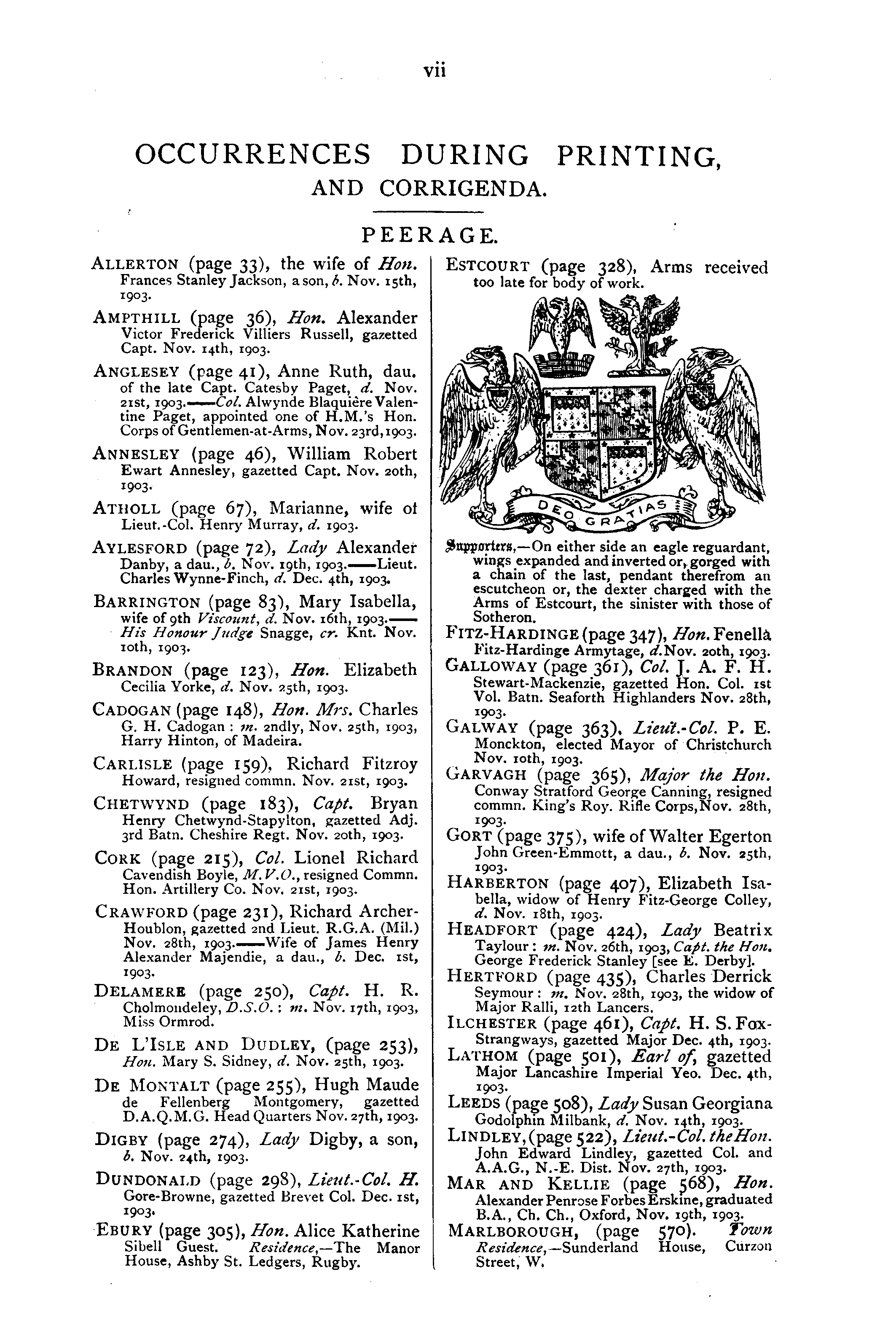 Debrett's Peerage, Baronetage, Knightage and Companionage, 1904 page vii - click to open larger version in a new window