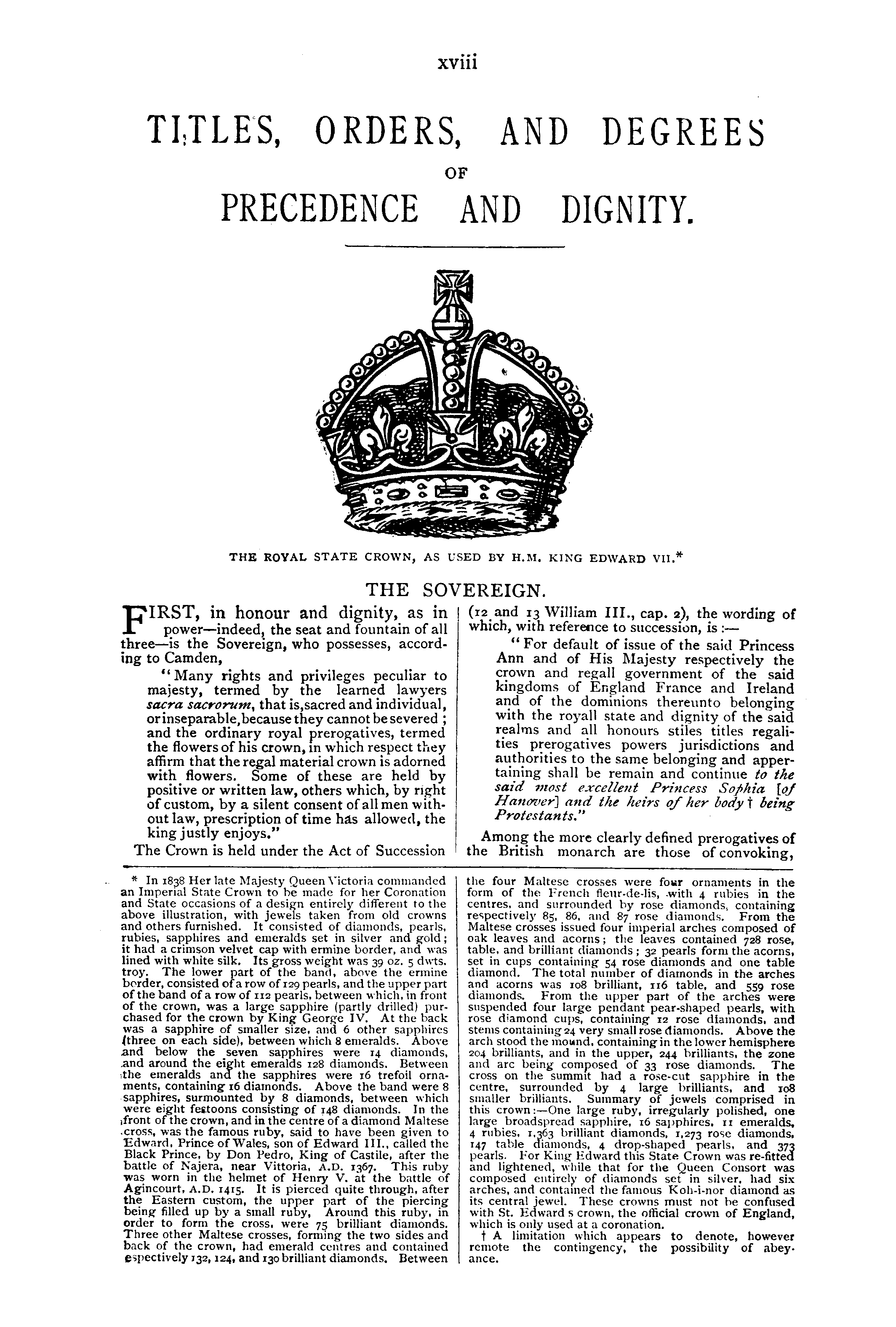 Debrett's Peerage, Baronetage, Knightage and Companionage, 1904 page xviii - click to open larger version in a new window