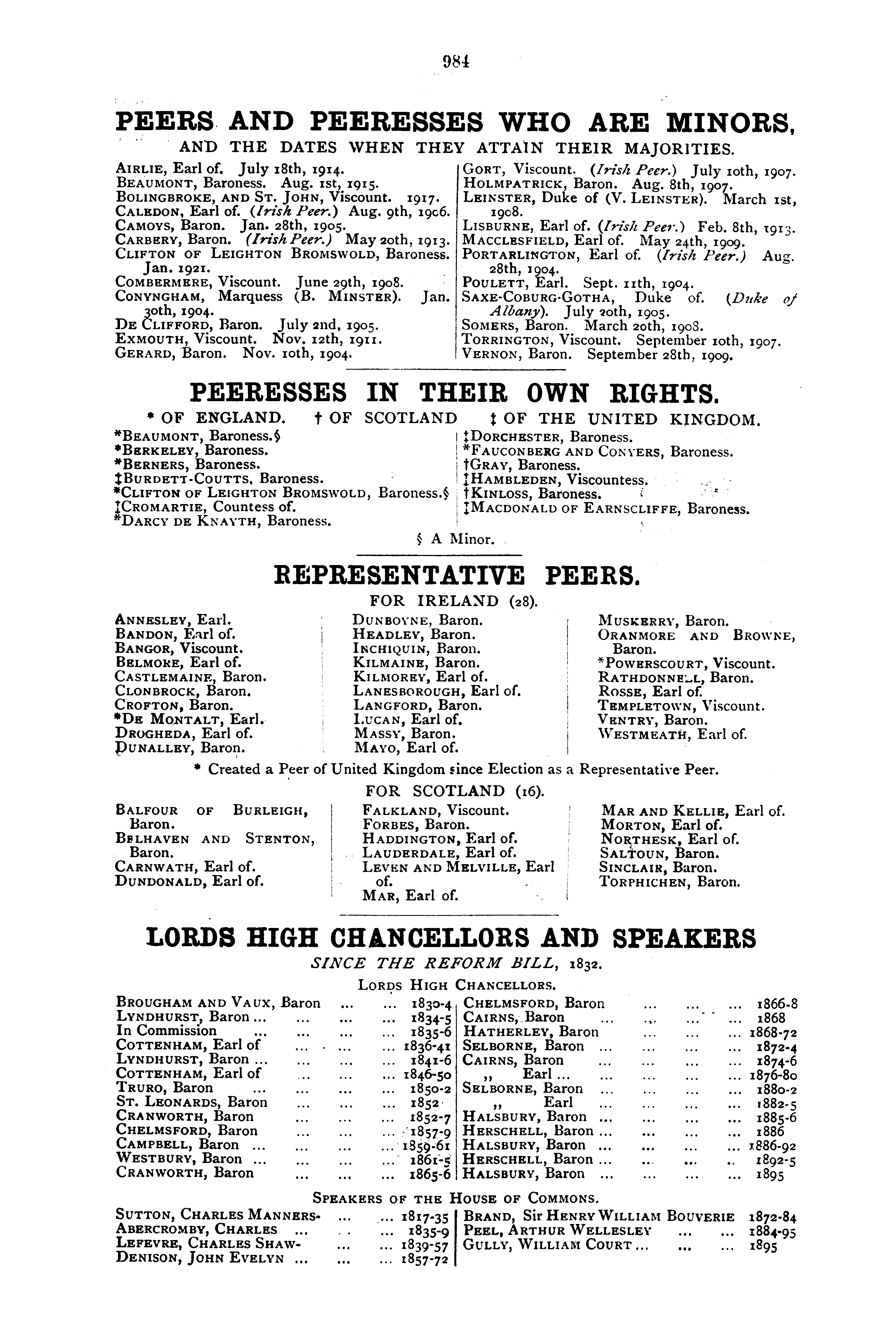 Debrett's Peerage, Baronetage, Knightage and Companionage, 1904 page 984 - click to open larger version in a new window