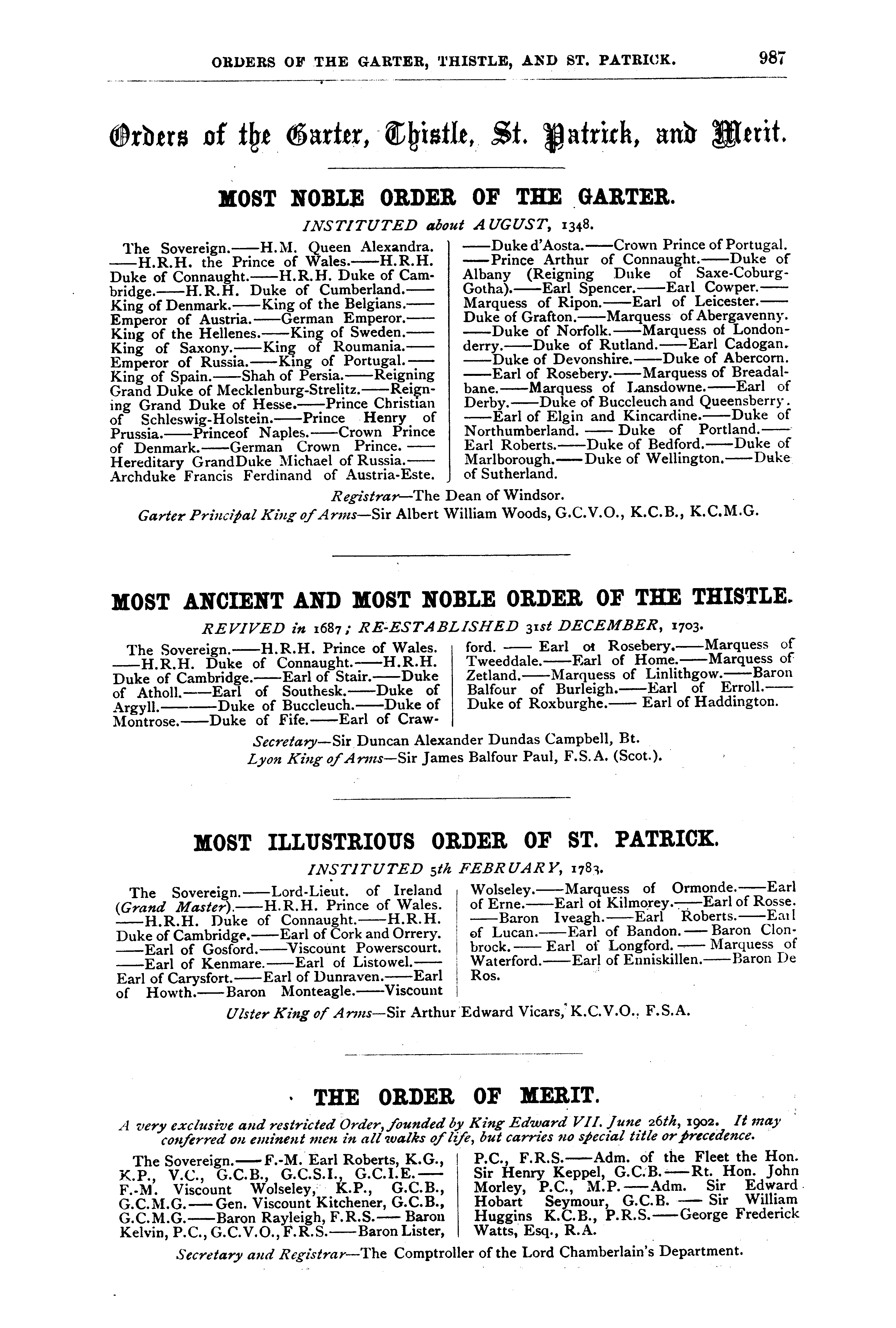 Debrett's Peerage, Baronetage, Knightage and Companionage, 1904 page 987 - click to open larger version in a new window