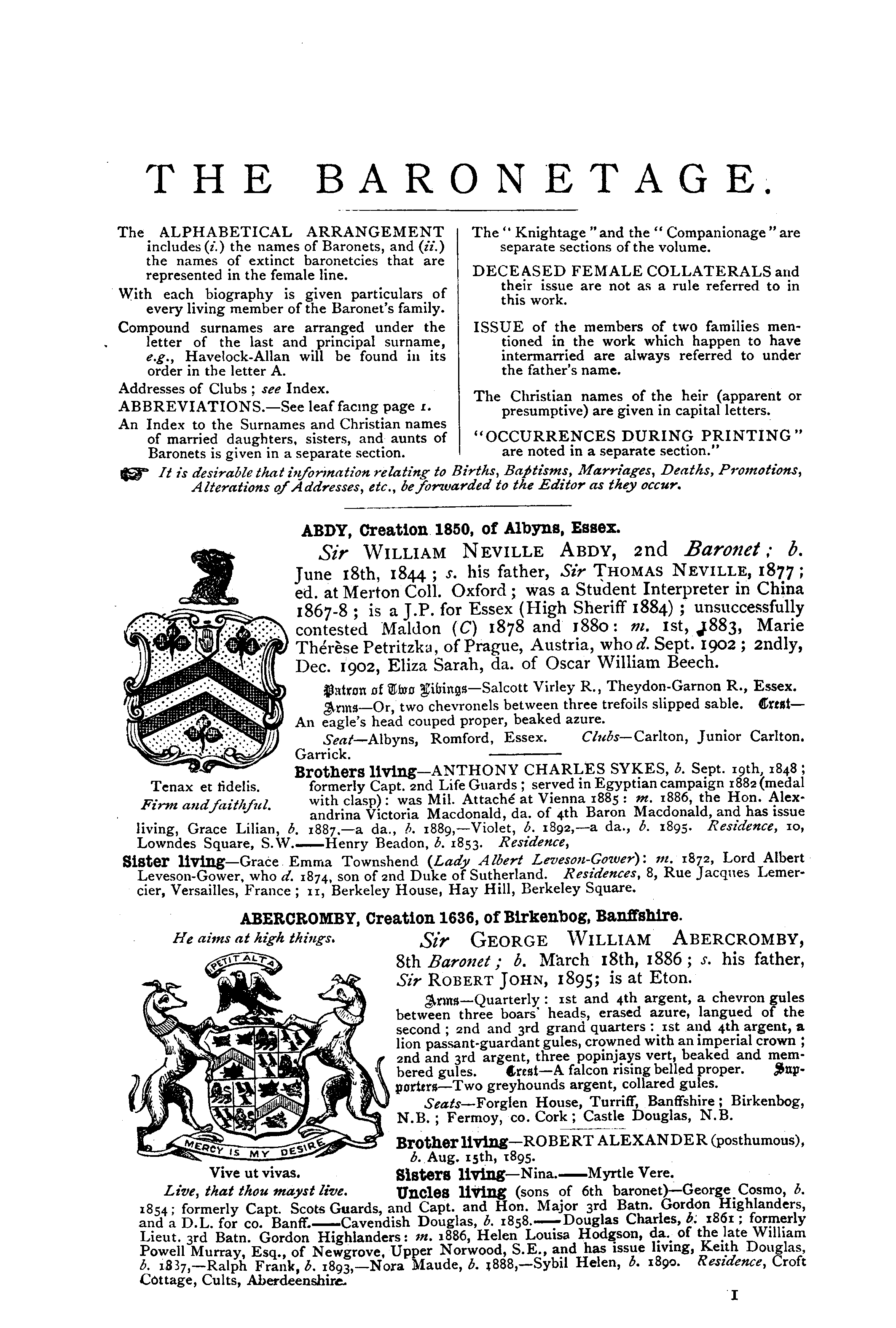 Debrett's Peerage, Baronetage, Knightage and Companionage, 1904 page 1 - click to open larger version in a new window