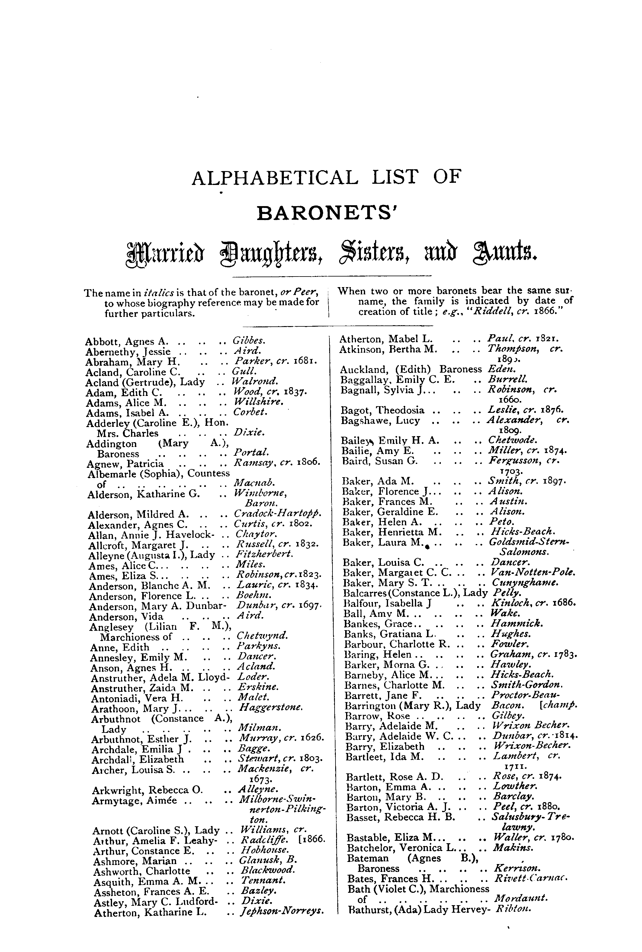 Debrett's Peerage, Baronetage, Knightage and Companionage, 1904 page 675 - click to open larger version in a new window