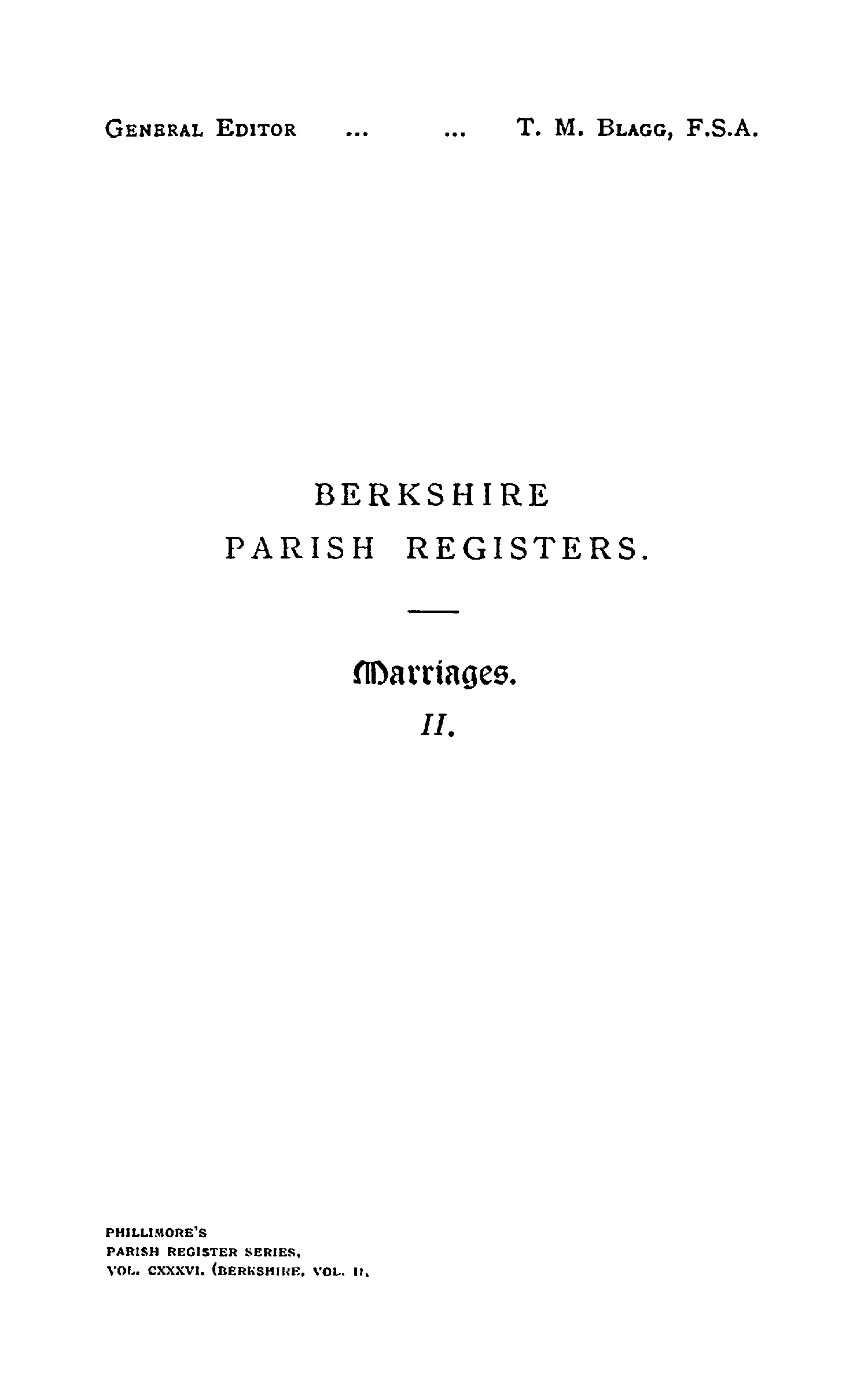 Berkshire Parish Registers - Marriages volume 2 page i - click to open larger version in a new window