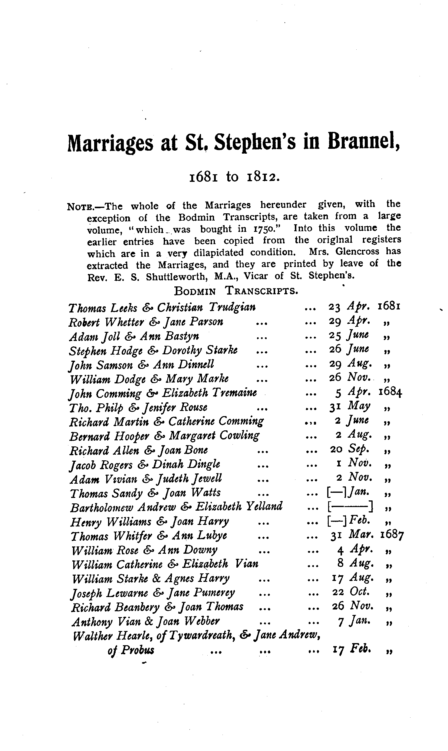 Cornwall Parish Registers - Marriages volume 10 page 39 - click to open larger version in a new window