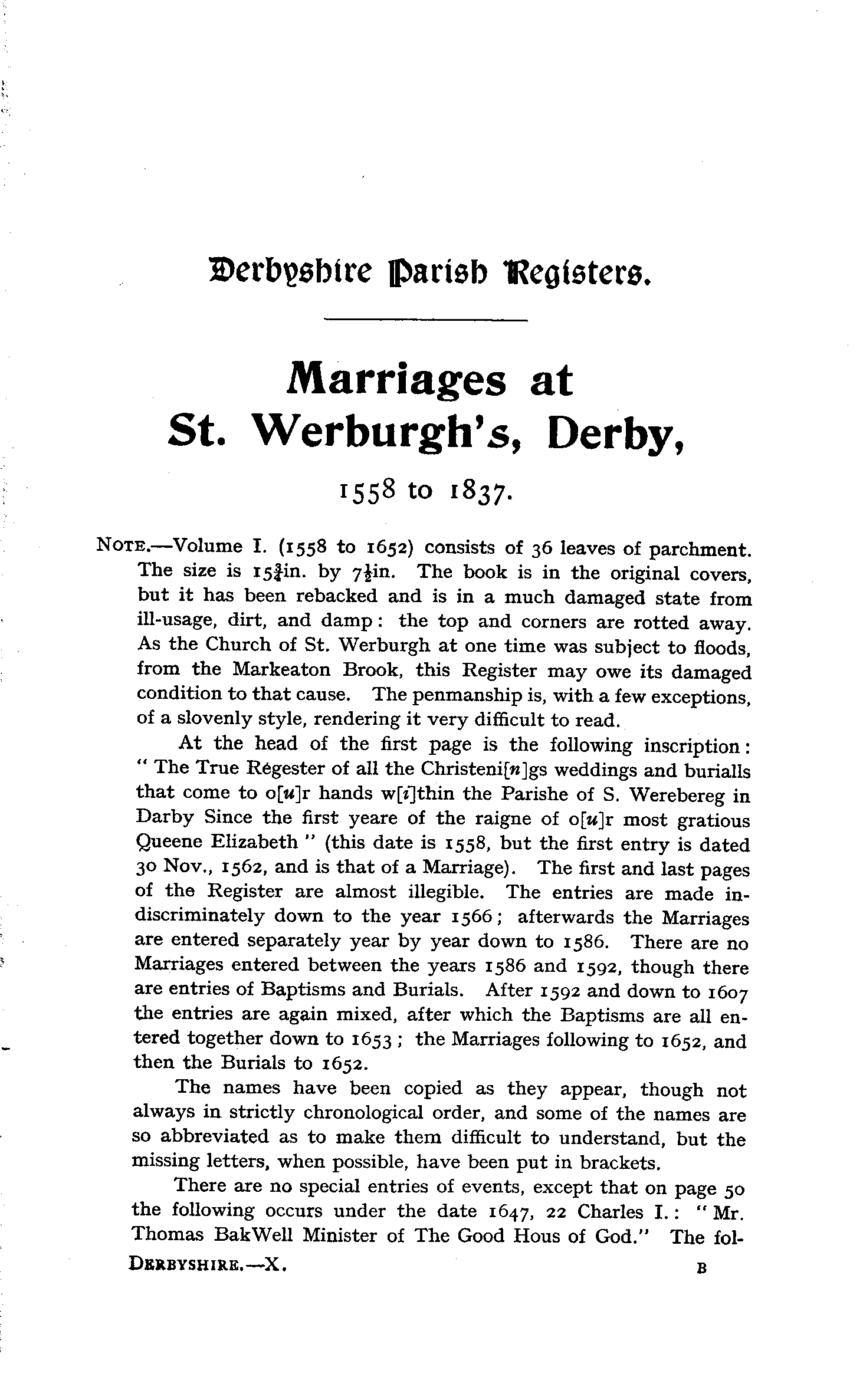 Derbyshire Parish Registers - Marriages volume 10 page 1 - click to open larger version in a new window