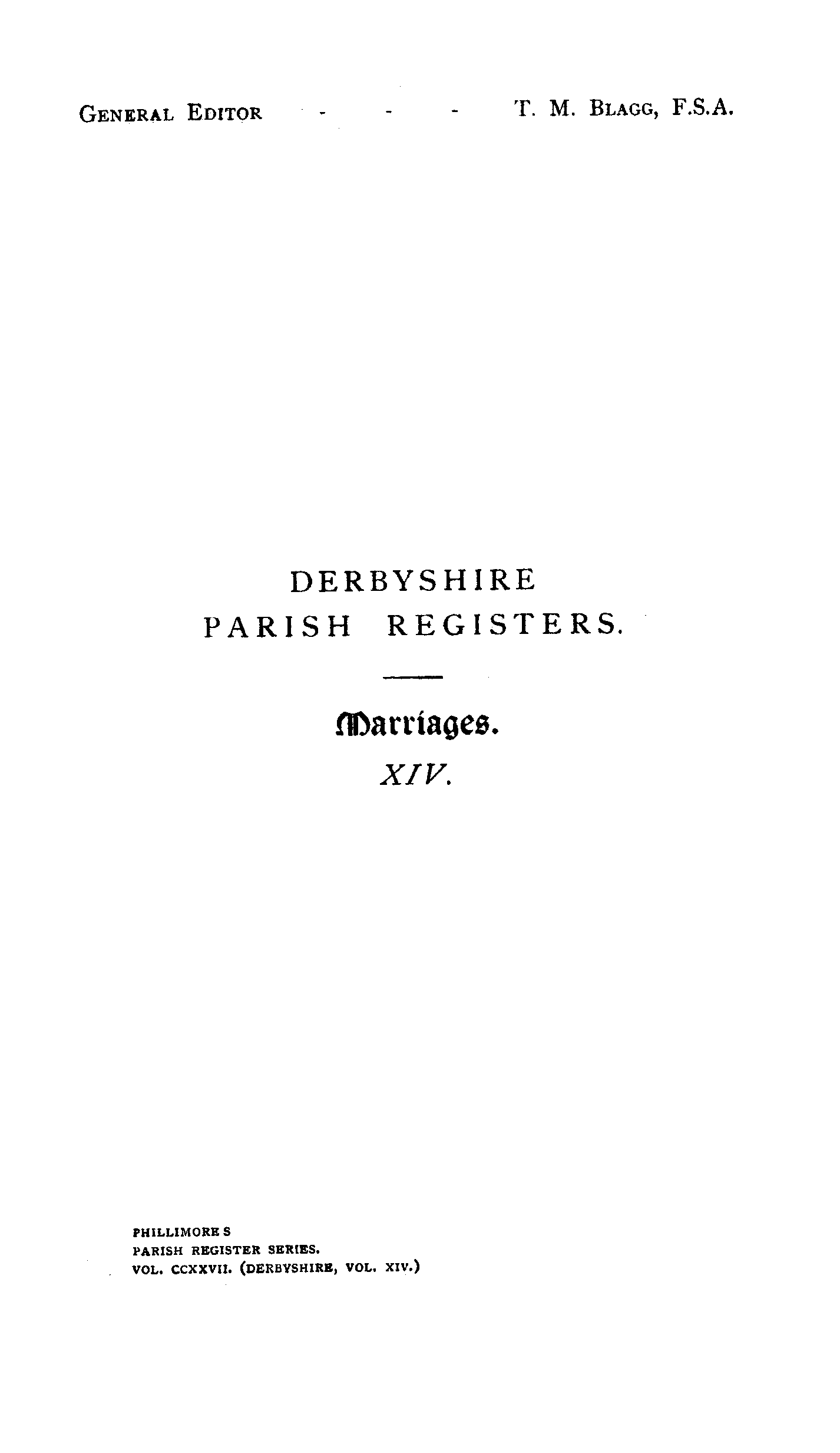 Derbyshire Parish Registers - Marriages volume 14 page i - click to open larger version in a new window