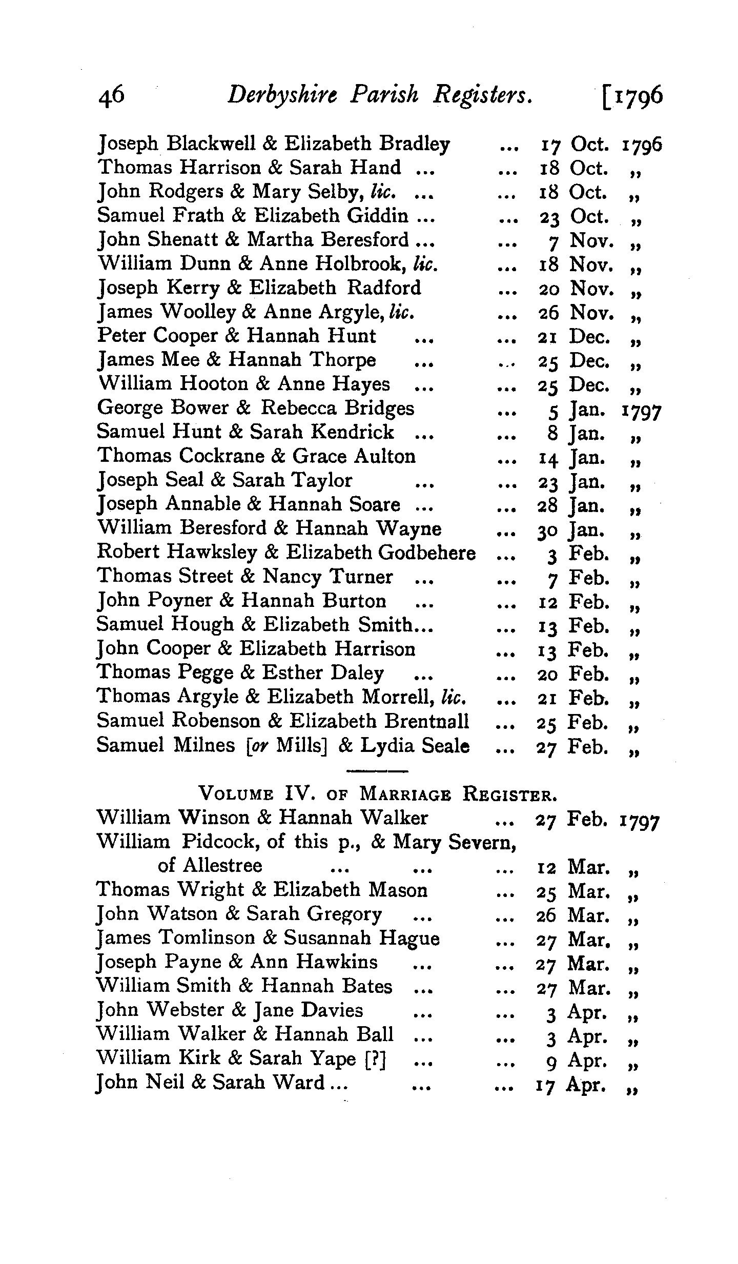 Derbyshire Parish Registers - Marriages volume 3 page 46 - click to open larger version in a new window