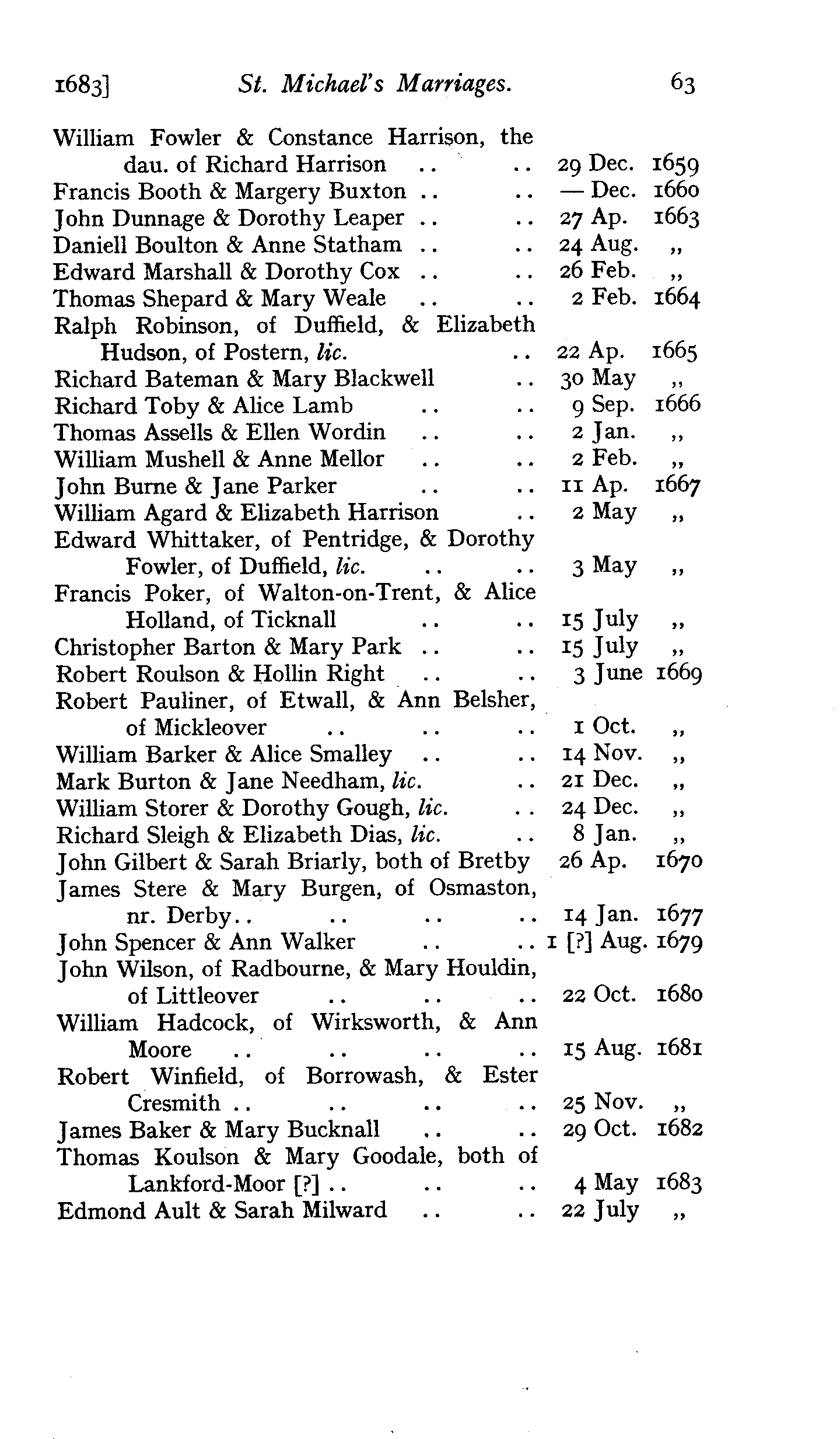 Derbyshire Parish Registers - Marriages volume 5 page 63 - click to open larger version in a new window