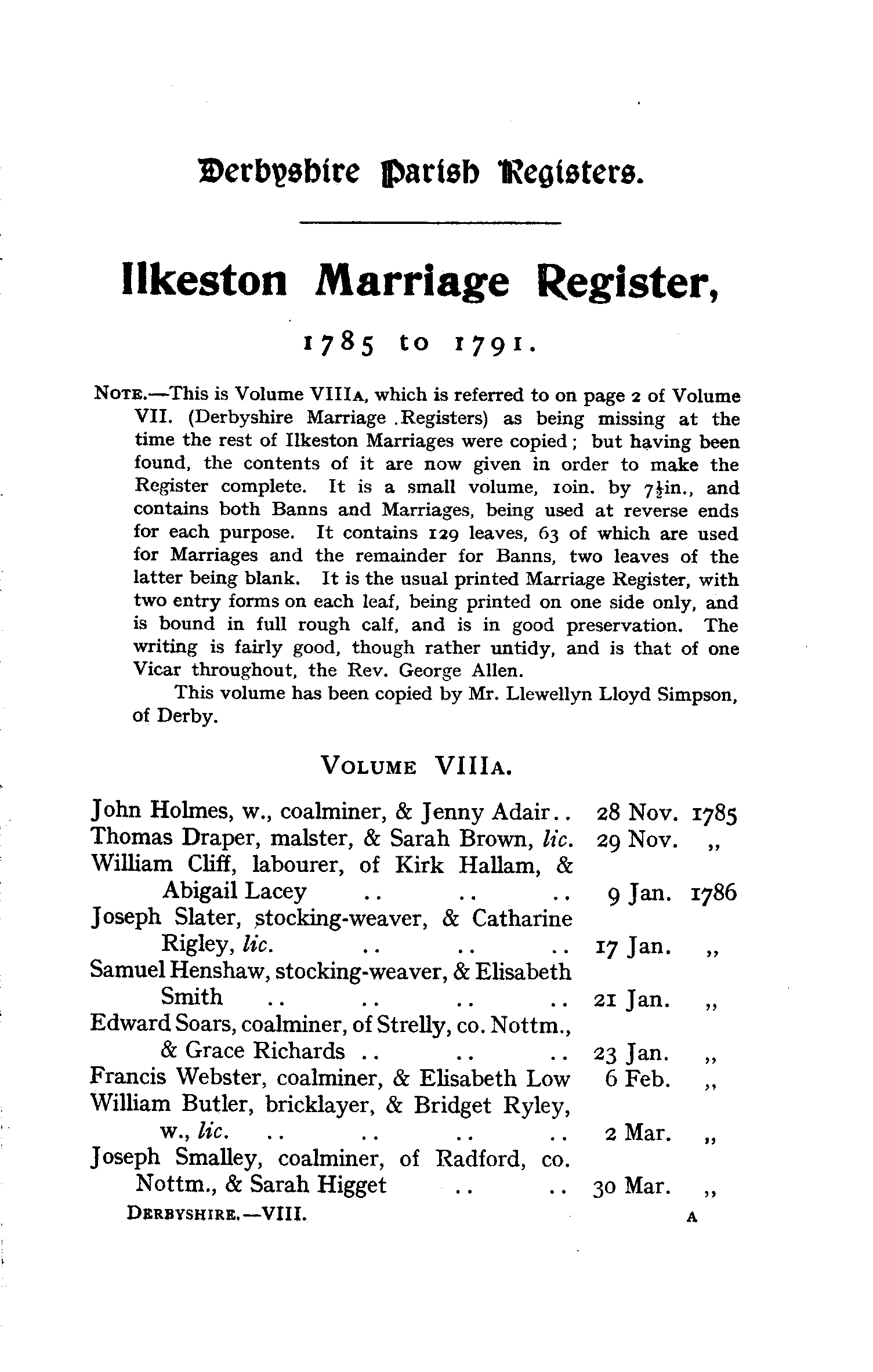 Derbyshire Parish Registers - Marriages volume 8 page 1 - click to open larger version in a new window