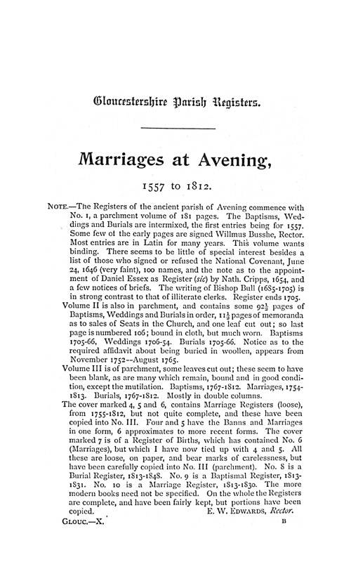 Gloucestershire Parish Registers - Marriages volume 10 page 1 - click to open larger version in a new window
