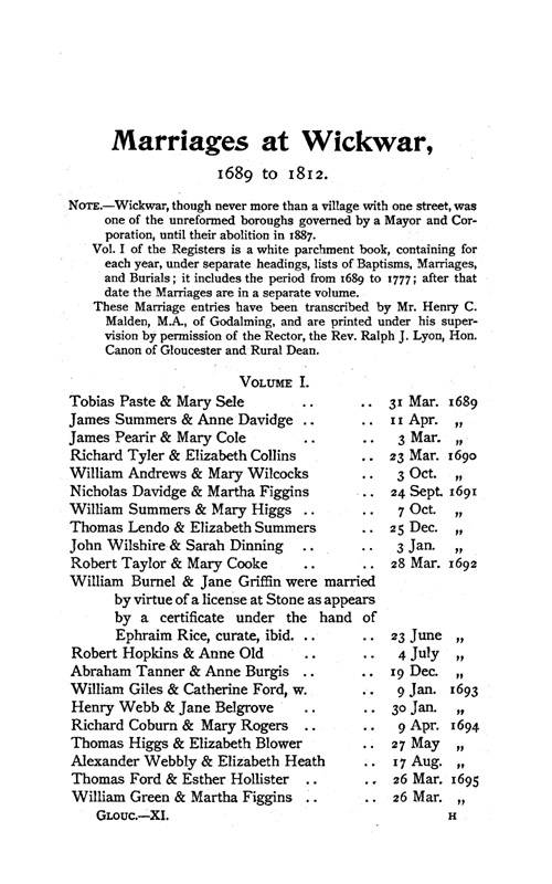 Gloucestershire Parish Registers - Marriages volume 11 page 97 - click to open larger version in a new window