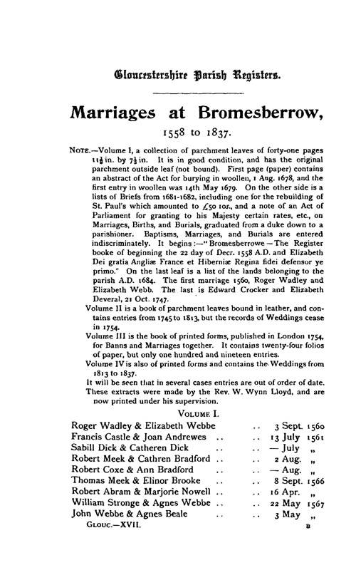 Gloucestershire Parish Registers - Marriages volume 17 page 1