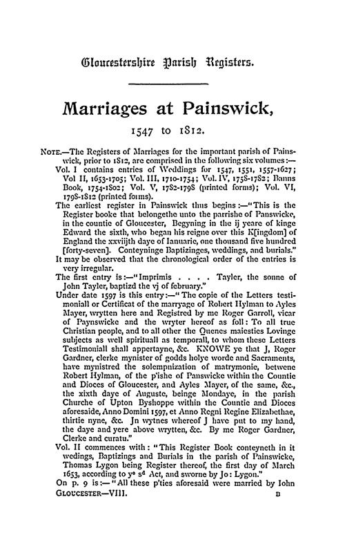 Gloucestershire Parish Registers - Marriages volume 8 page 1 - click to open larger version in a new window