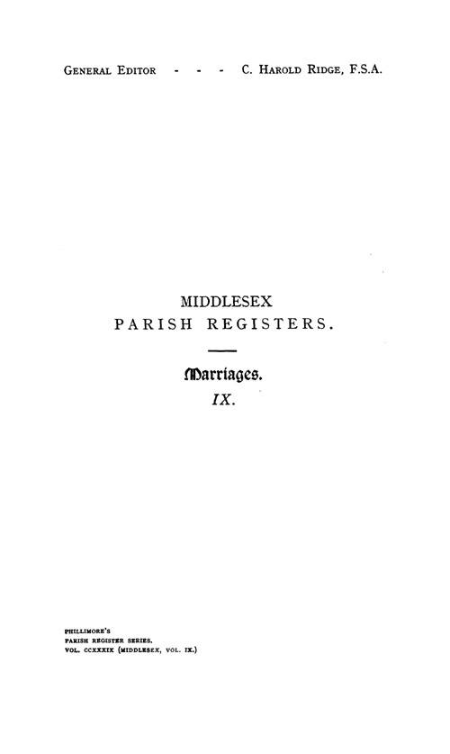 Middlesex Parish Registers - Marriages volume 9 page i
