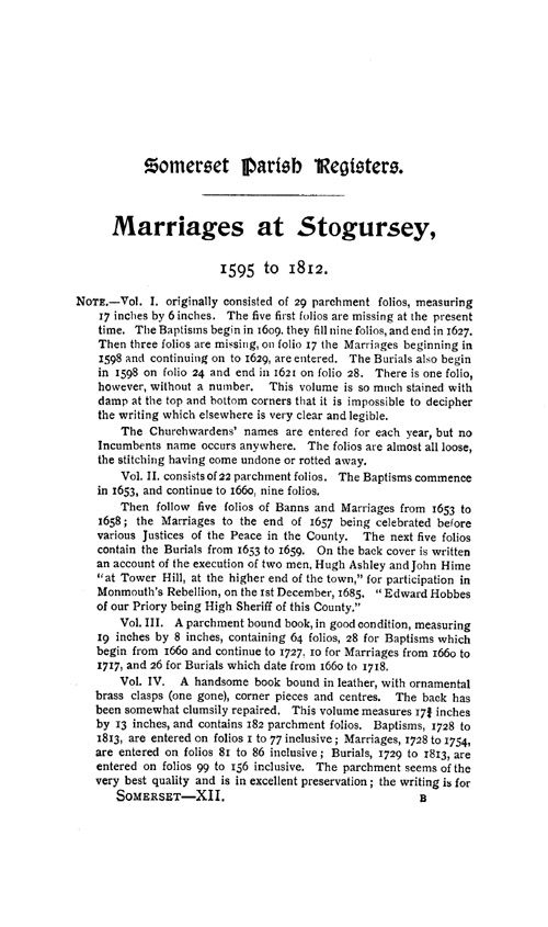 Somerset Parish Registers - Marriages volume 12 page 1