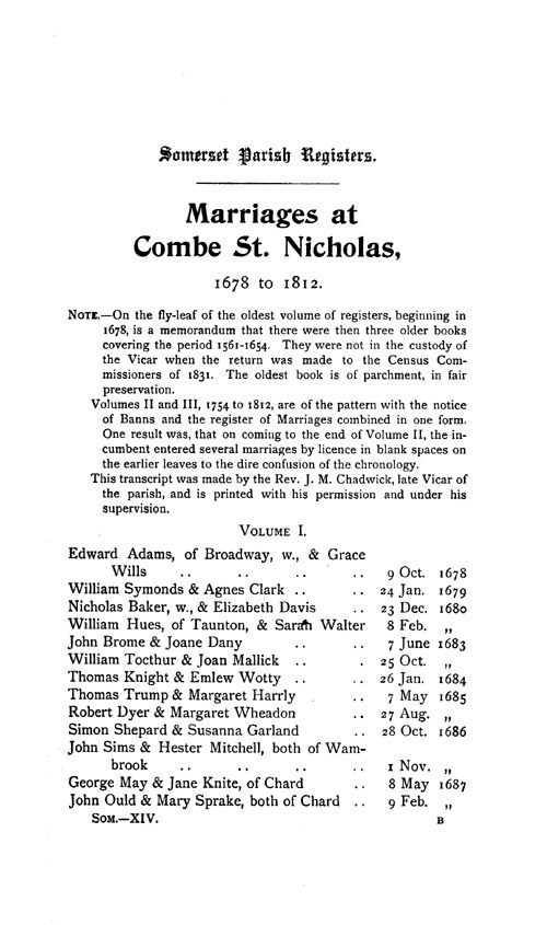 Somerset Parish Registers - Marriages volume 14 page 1 - click to open larger version in a new window