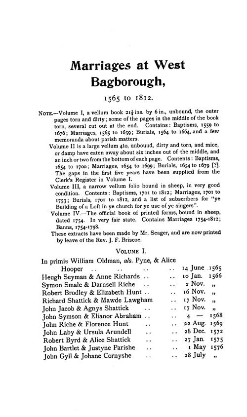 Somerset Parish Registers - Marriages volume 14 page 25 - click to open larger version in a new window