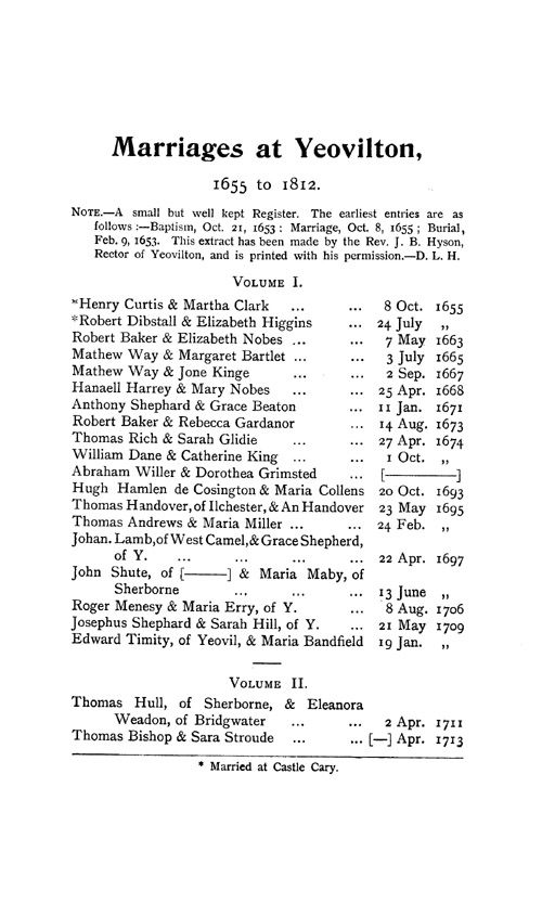 Somerset Parish Registers - Marriages volume 2 page 69 - click to open larger version in a new window