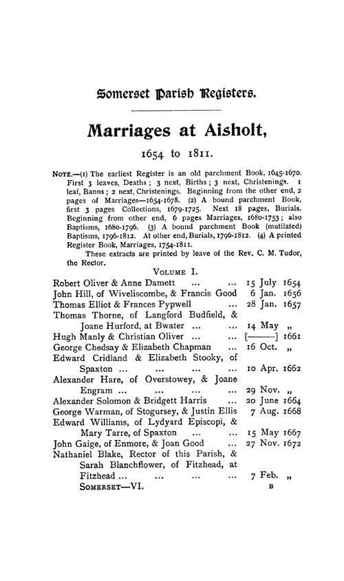 Somerset Parish Registers - Marriages volume 6 page 1