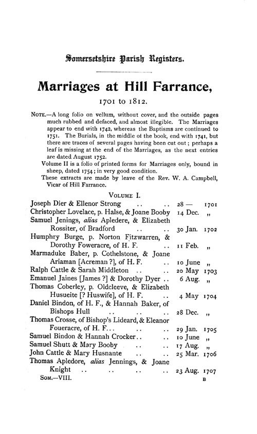 Somerset Parish Registers - Marriages volume 8 page 1