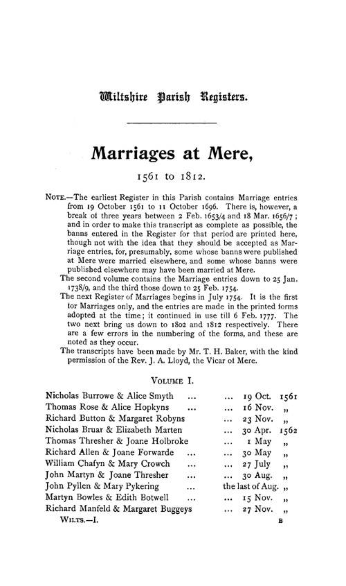 Wiltshire Parish Registers - Marriages volume 1 page 1 - click to open larger version in a new window