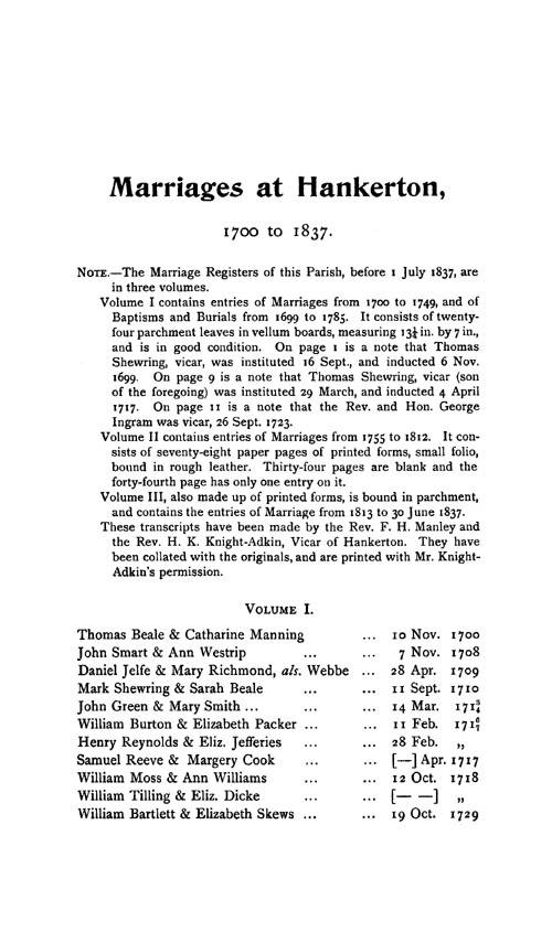 Wiltshire Parish Registers - Marriages volume 10 page 11 - click to open larger version in a new window