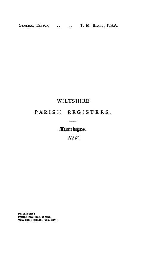 Wiltshire Parish Registers - Marriages volume 14 page i - click to open larger version in a new window