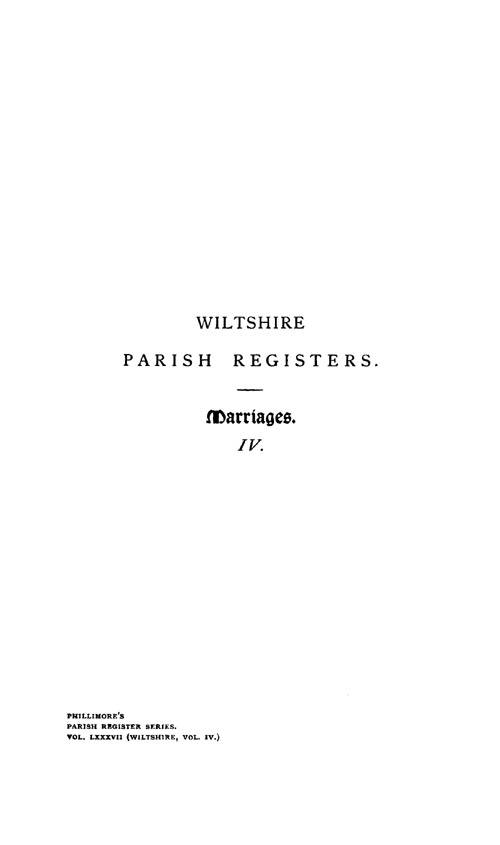 Wiltshire Parish Registers - Marriages volume 4 page i - click to open larger version in a new window