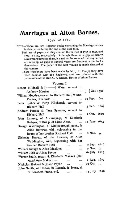 Wiltshire Parish Registers - Marriages volume 6 page 123 - click to open larger version in a new window