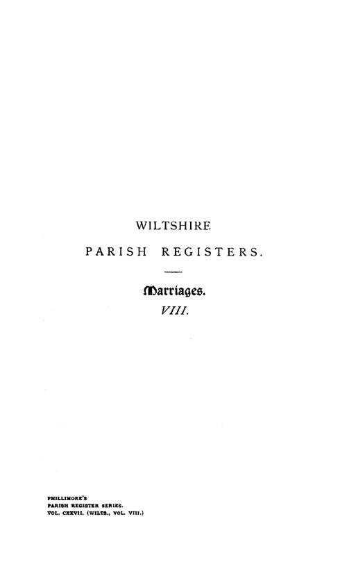 Wiltshire Parish Registers - Marriages volume 8 page i - click to open larger version in a new window