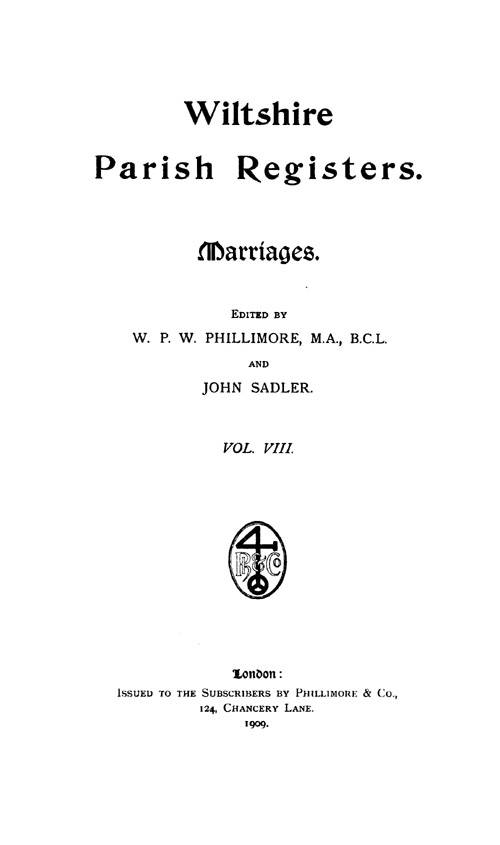 Wiltshire Parish Registers - Marriages volume 8 page iii - click to open larger version in a new window