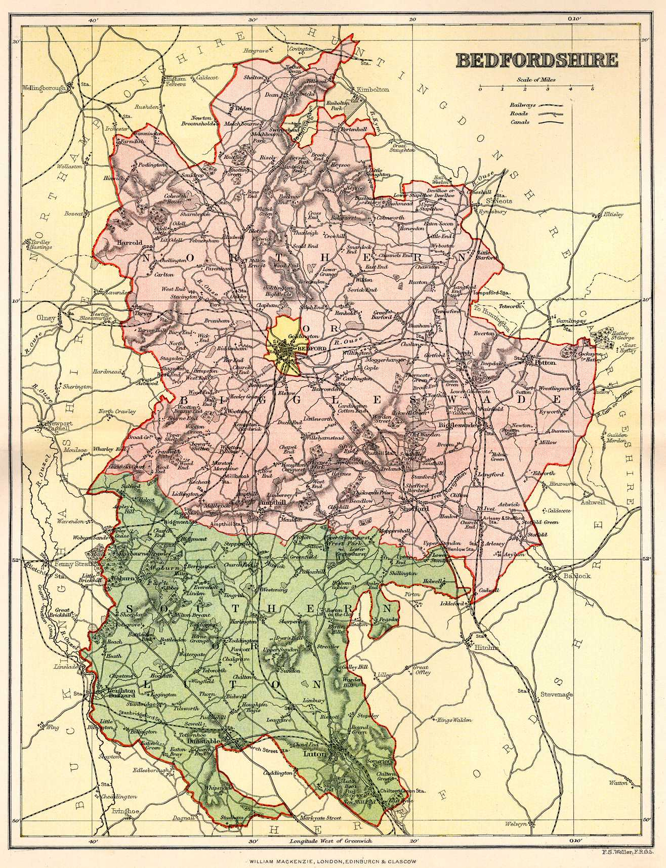bedfordshire england map