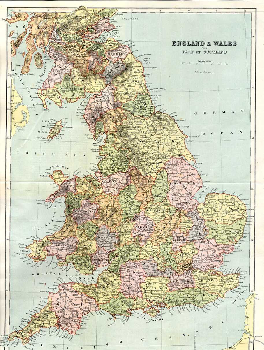 Map Of England And Wales With Cities.Gazetteer Of England And Wales 1894 5