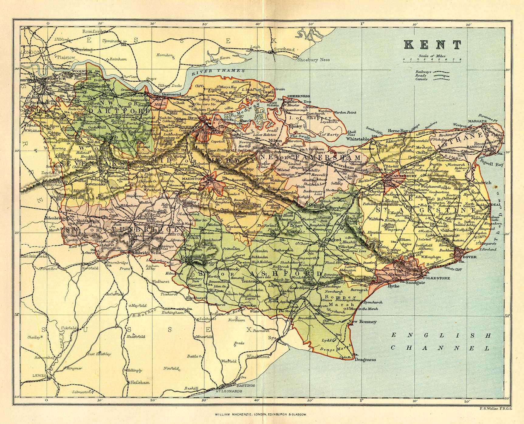 Historical Description Of Kent England - Historic maps england